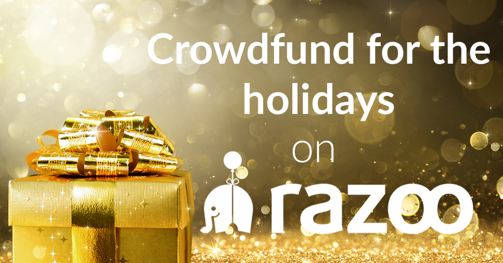 holiday crowdfunding image with gold present