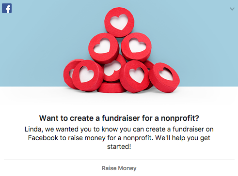 An ad to create a fundraiser with the Facebook donate button