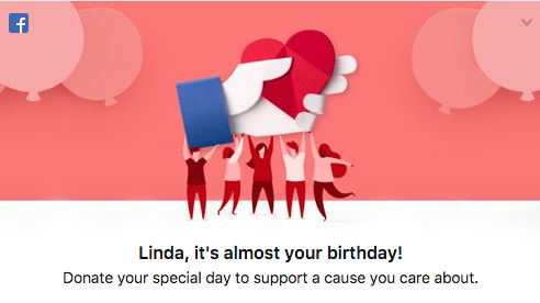 A prompt to create a birthday fundraiser with the Facebook donate button