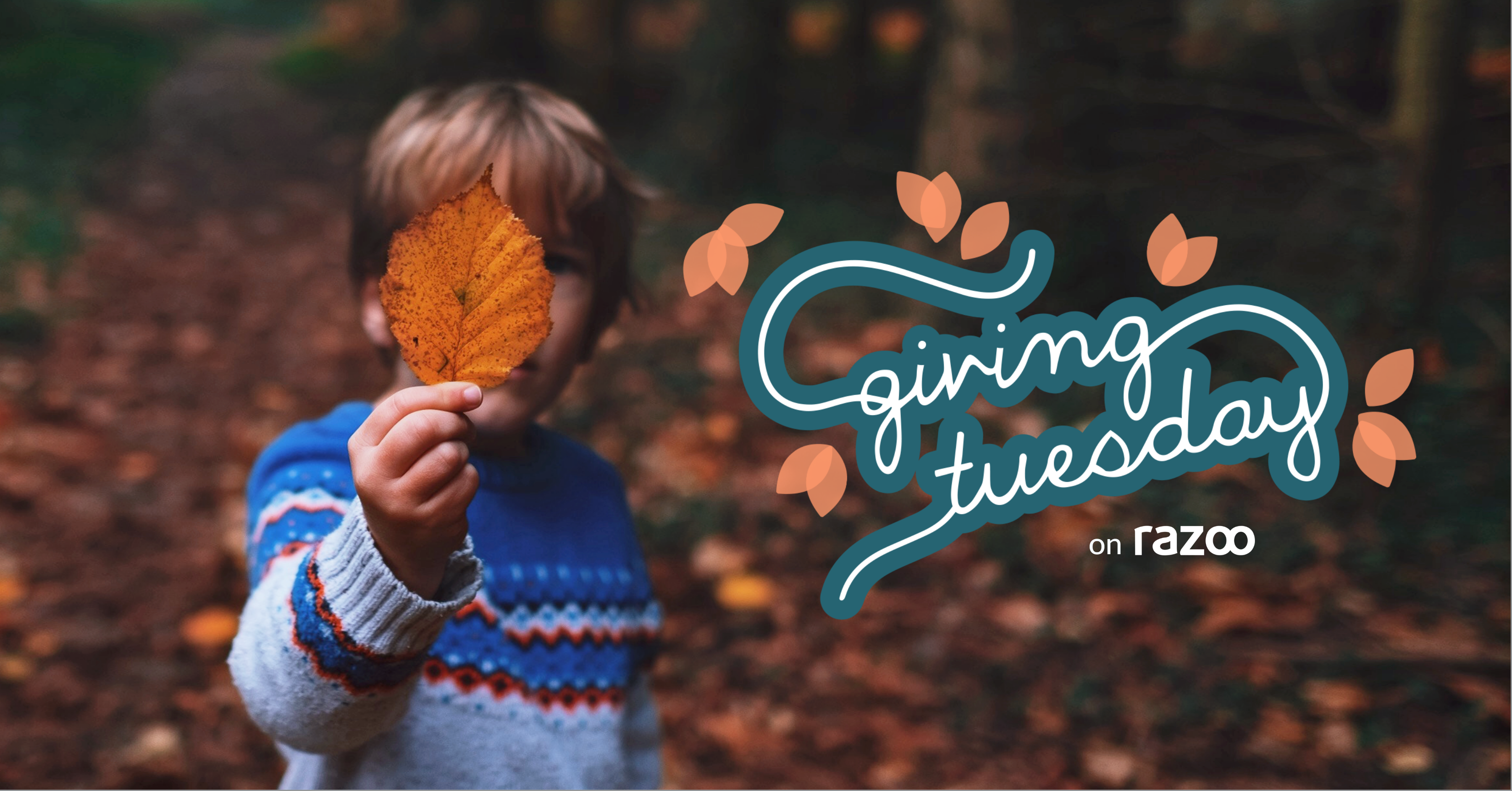 Boy with leaf and #GivingTuesday logo