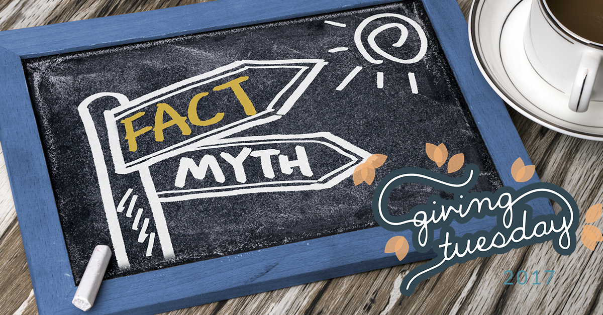 """Chalkboard with """"Fact"""" and """"Myth"""" drawn on it, with #GivingTuesday logo"""