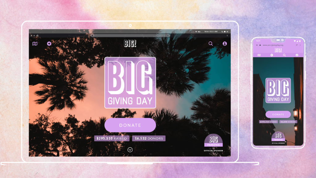 sample giving day design on desktop and phone with multicolored background