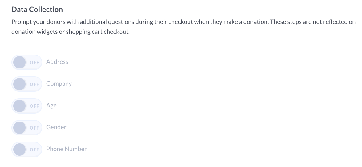 screenshot of donor data collection tool