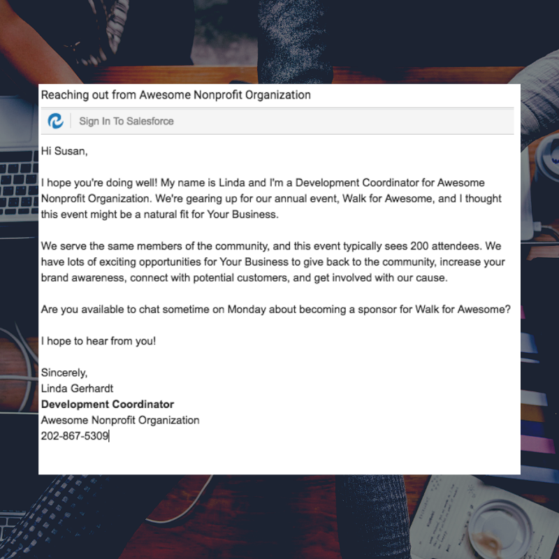 screenshot of sample email to potential event sposnors