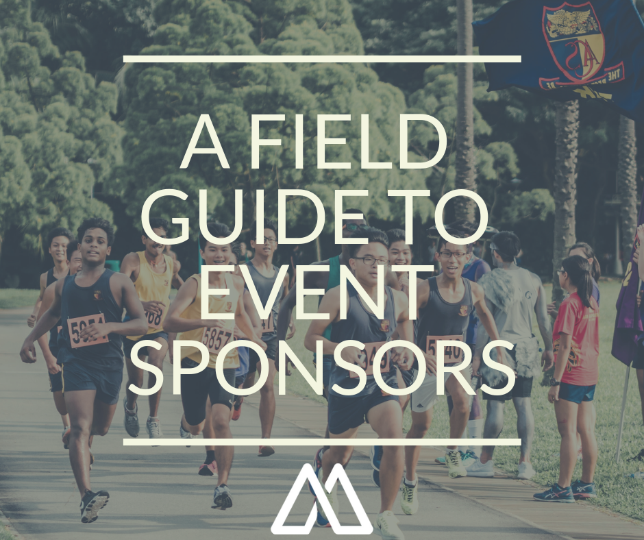 """image of people running with text overlay that says """"A field guide to event sponsors"""""""