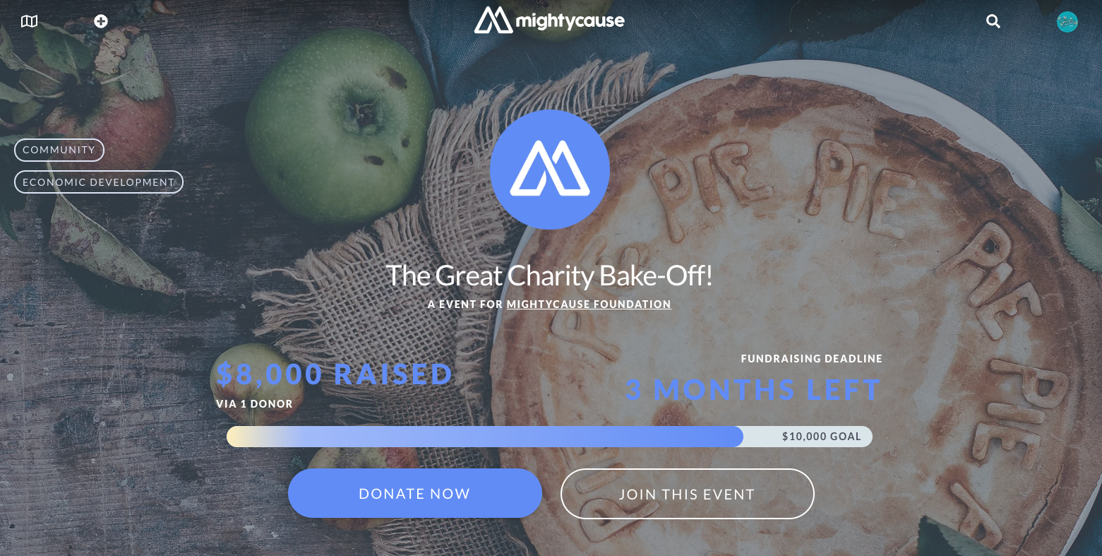 screenshot of charity bake-off event fundraiser on mightycause