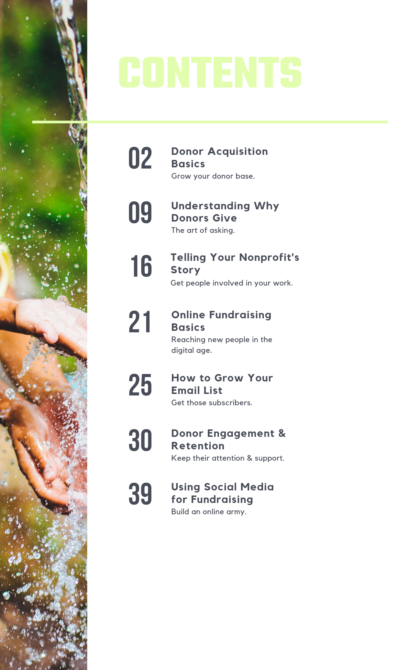 nonprofit fundraising guide's table of contents