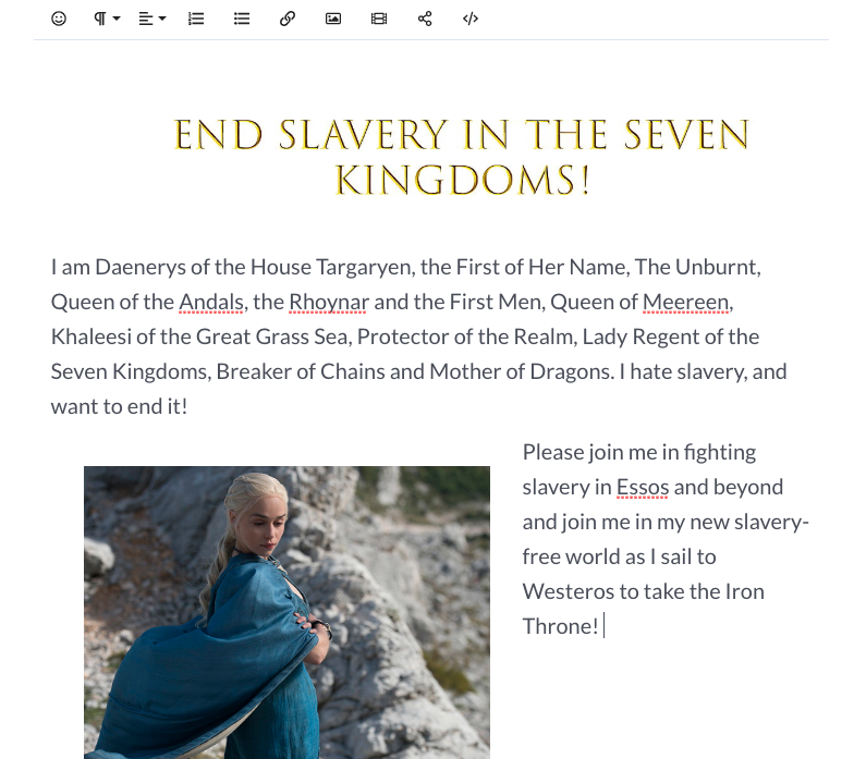 screenshot of daenerys' story in a mightycause page