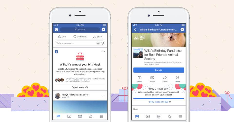 facebook fundraising targets donors