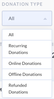 screenshot of options on donation report