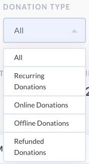 screenshot of options on donation report