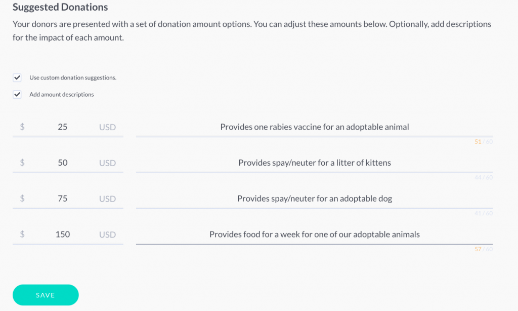 donation descriptions in donor experience tool