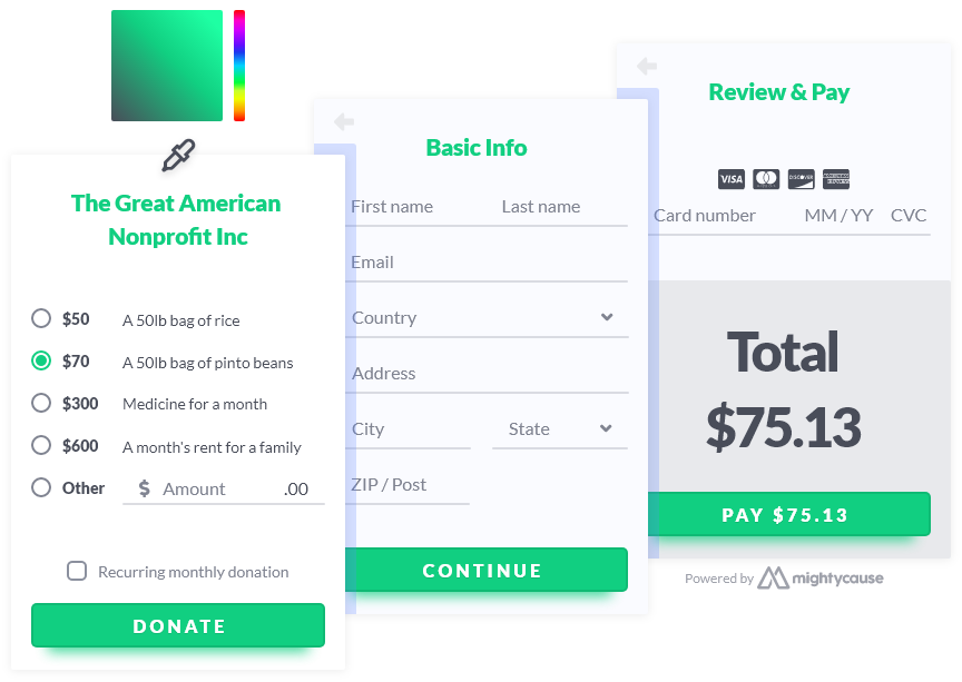 donation widget with theme color example