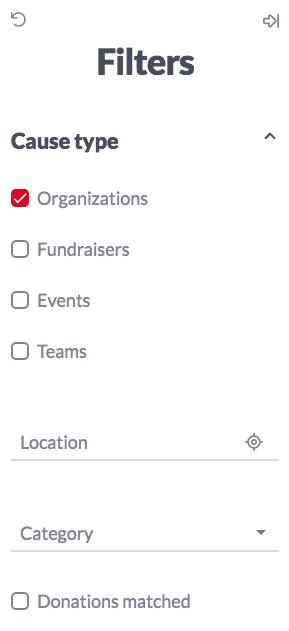 black philanthropy: search filter screenshot