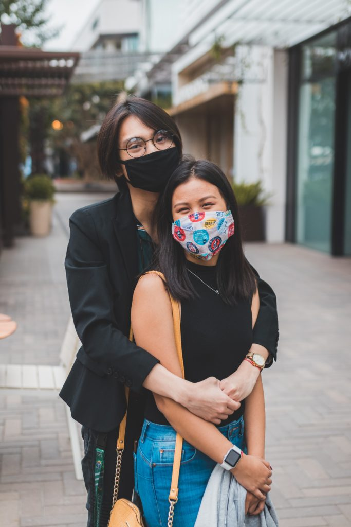 donor fatigue: people wearing masks