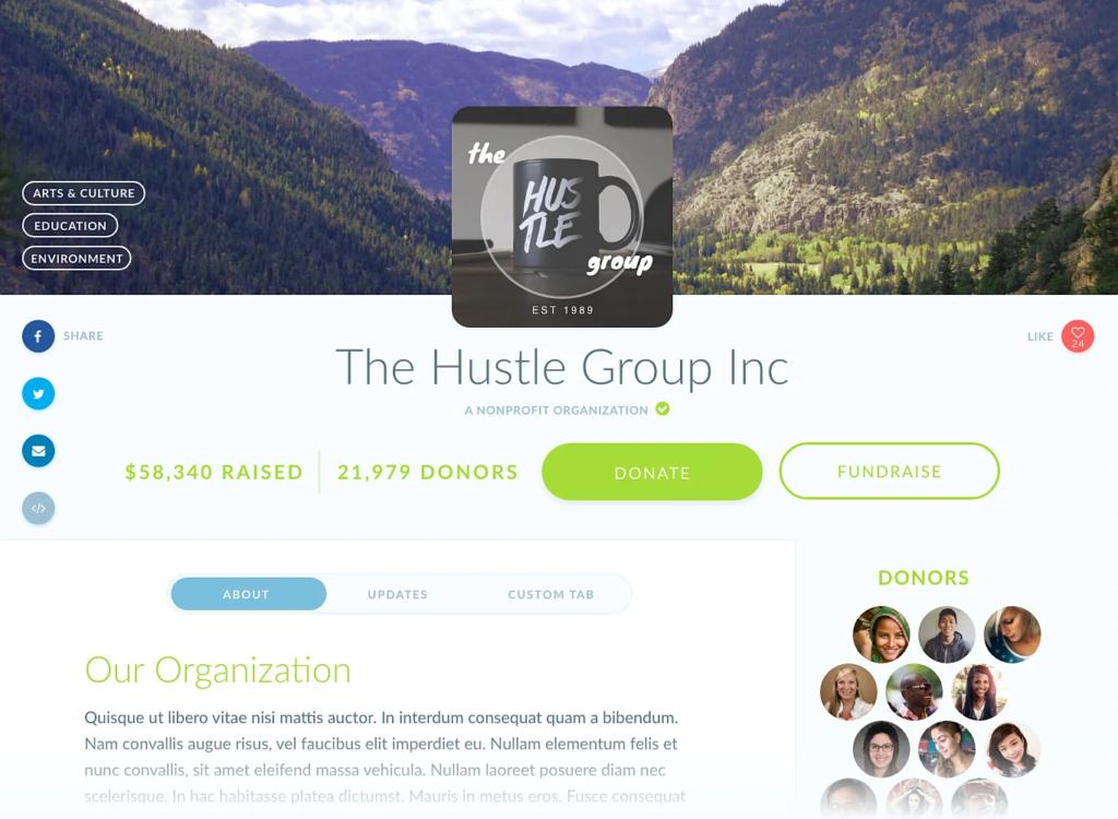 image of a sample organization profile