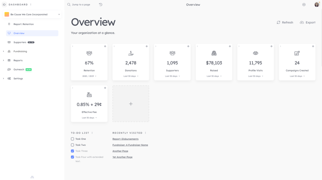 year end donor retention: overview screen with donor retention calculated