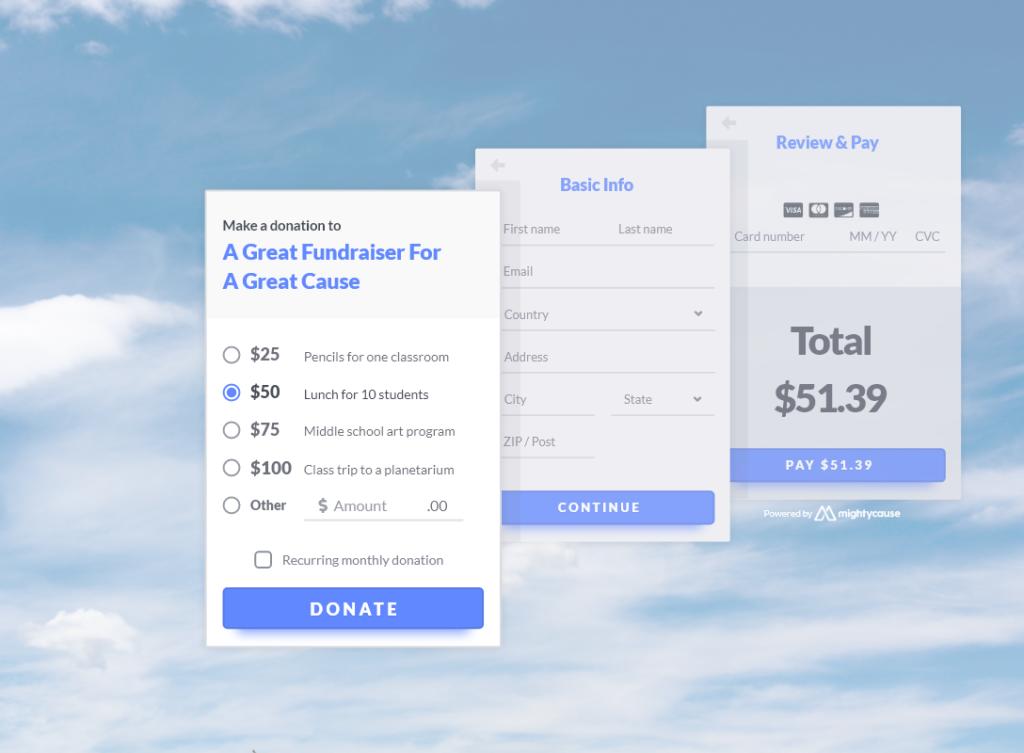 gofundme charity: mightycause's donation widget