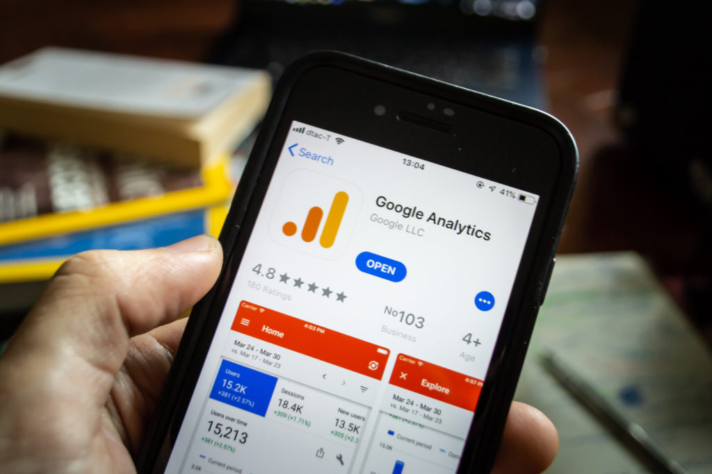 google analytics app on a mobile phone