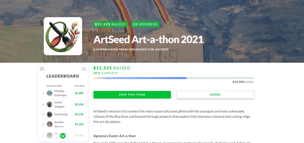 spring fundraiser ideas: artseed art-a-thon