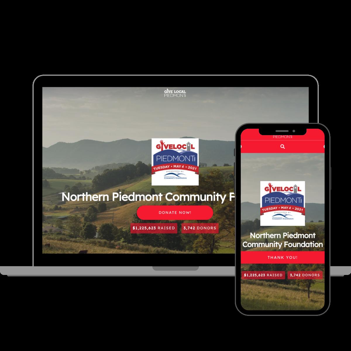 data migration - Give Local Piedmont website on desktop and mobile