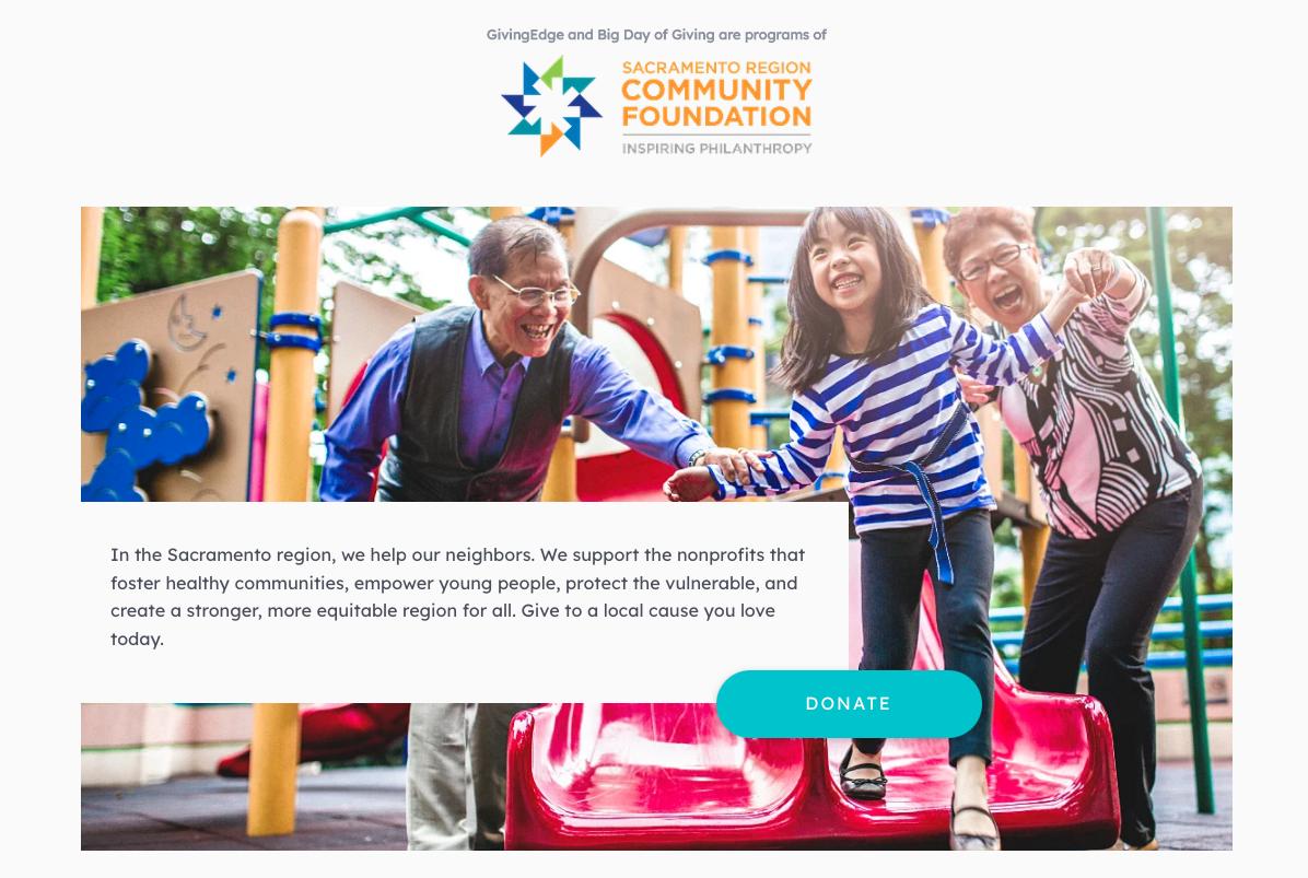 sacramento big day of giving: screenshot of site